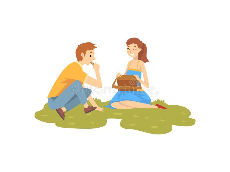 Gelukkig Paar in Liefde die op Gras, de Jonge Mens en Vrouw rusten die Picknick in Park hebben, Vector van de Zomer de Openluchta stock illustratie