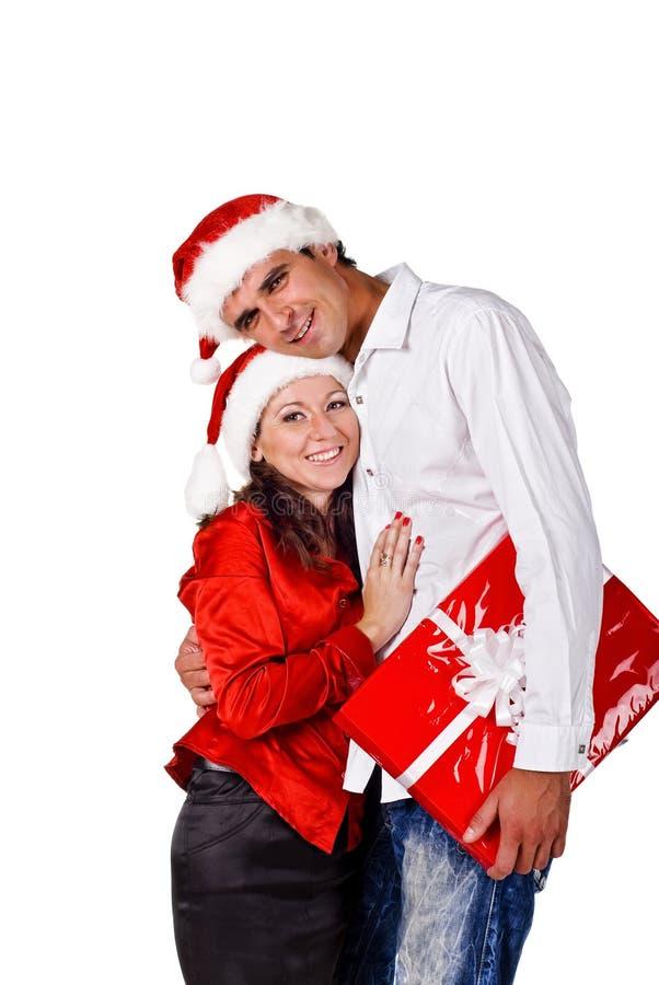 Gelukkig paar met de giften van Kerstmis royalty-vrije stock afbeeldingen
