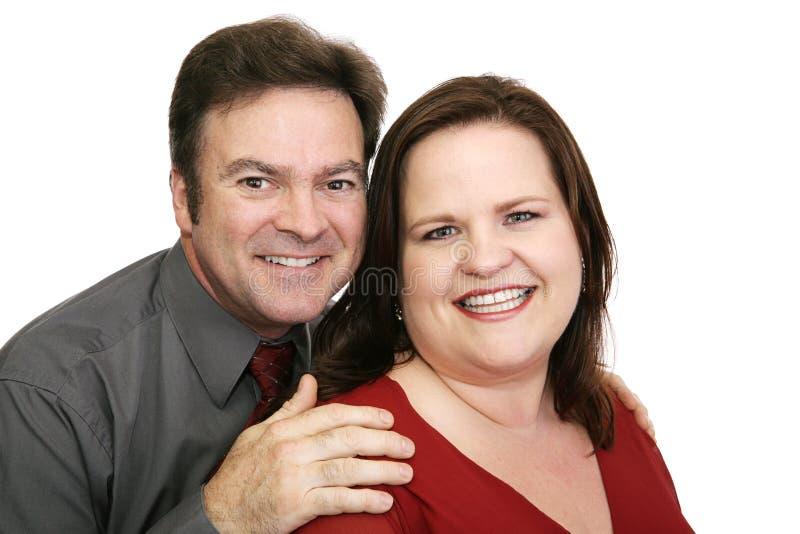 Gelukkig Paar in Rood royalty-vrije stock foto