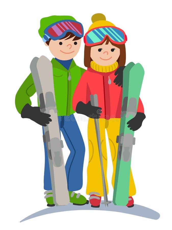Gelukkig paar van van de jongerenman en vrouw grappige skiërs in de volledige groei Vectorillustratie in een vlak geïsoleerd ontw vector illustratie
