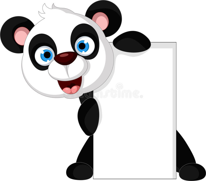 Gelukkig pandabeeldverhaal met leeg teken stock illustratie