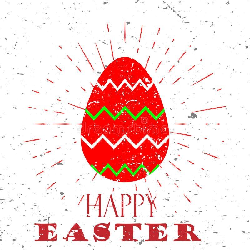 Gelukkig Pasen-concept met rode ei en het Van letters voorzien Typografie met uitbarsting op een Oude Geweven Achtergrond Vector  stock illustratie