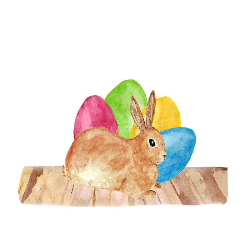 Gelukkig Pasen-decor - een leuk bruin konijn met gekleurde eierenhand getrokken die waterverf het schilderen illustratie op wit w royalty-vrije illustratie