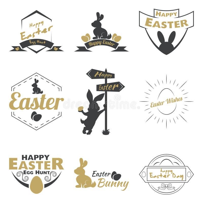 Gelukkig Pasen-embleem royalty-vrije illustratie