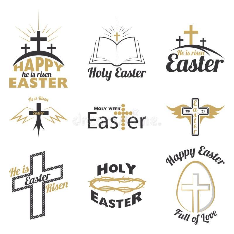 Gelukkig Pasen-embleem vector illustratie