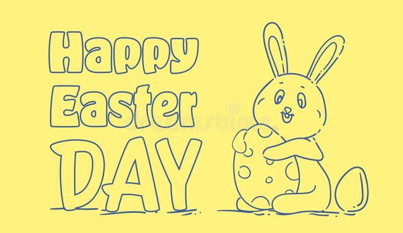 Gelukkig Pasen-Kaartontwerp met Hand Getrokken Leuke Vakantie Bunny Holding Egg stock illustratie