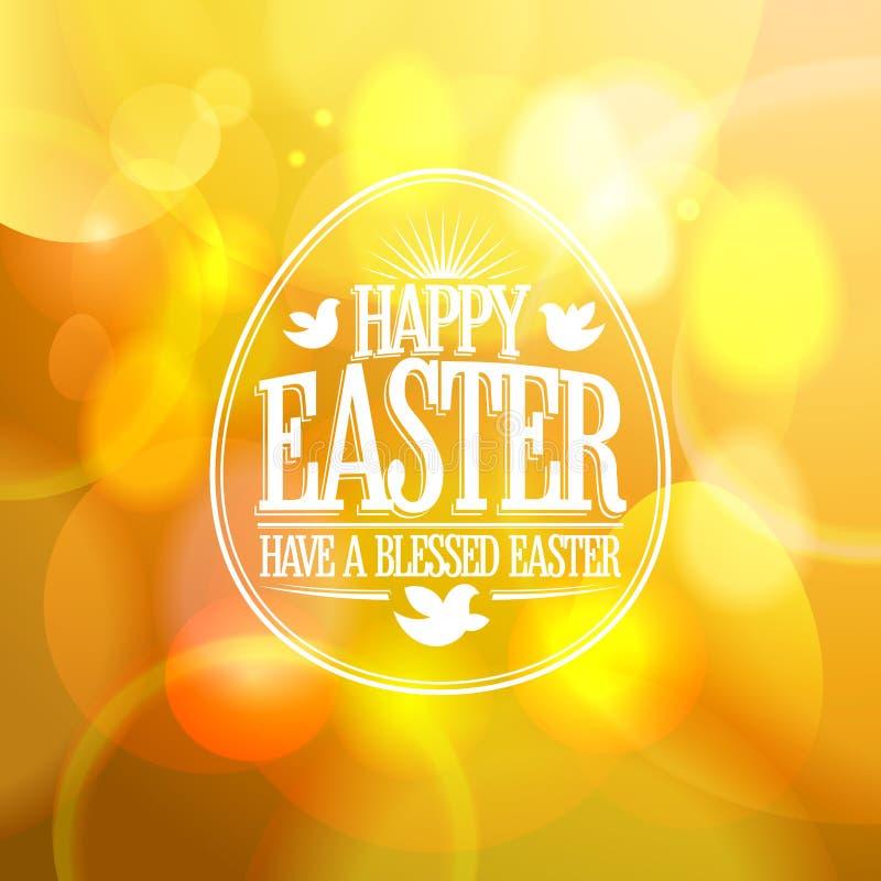 Gelukkig Pasen-ontwerp op een gouden bokeh achtergrond stock illustratie