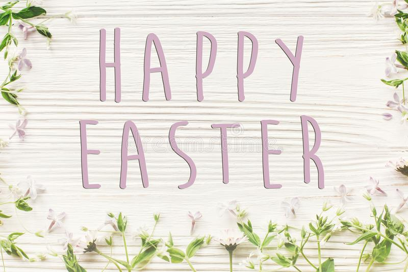 Gelukkig Pasen-tekstteken, eenvoudige groetkaart verse madeliefjesering royalty-vrije stock foto