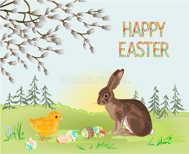 Gelukkig Pasen-van het de lentelandschap bos de hazen en van Pasen kuiken en paaseieren in het gras met bloemen uitstekende vecto stock illustratie