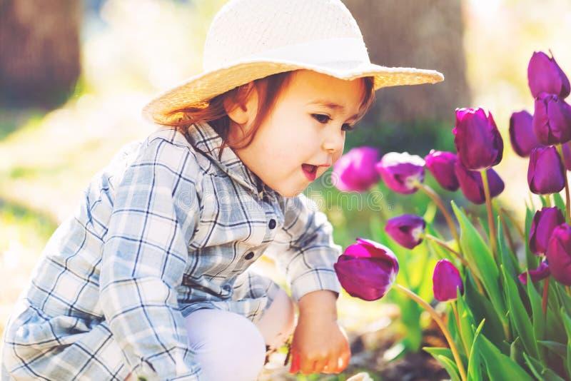 Gelukkig peutermeisje in hoed het spelen met purpere tulpen stock afbeelding
