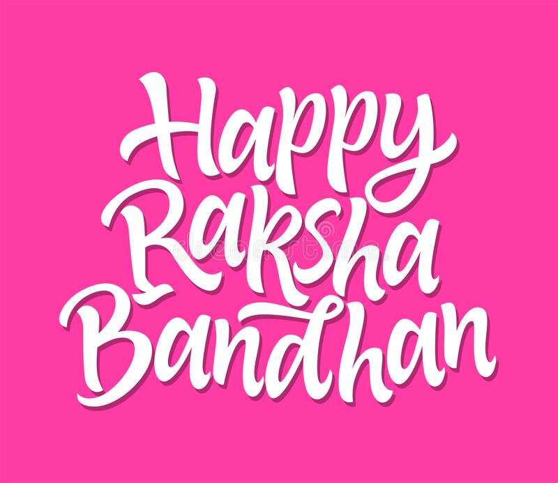 Gelukkig Raksha Bandhan - het vectorhand getrokken borstelpen van letters voorzien vector illustratie