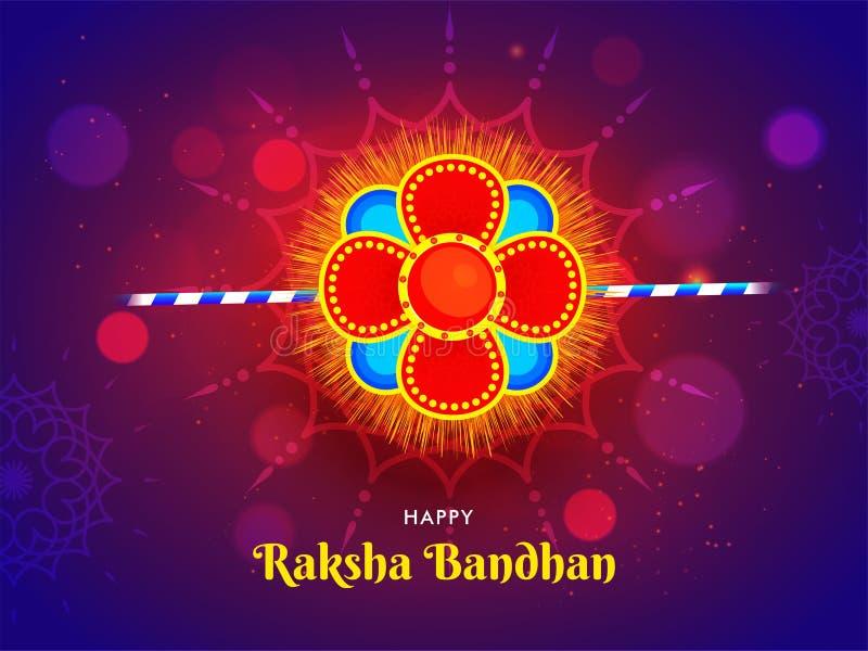 Gelukkig Raksha Bandhan-van de festivalkaart of affiche ontwerp met mooie bloemenrakhi op glanzende purpere bokeh royalty-vrije illustratie
