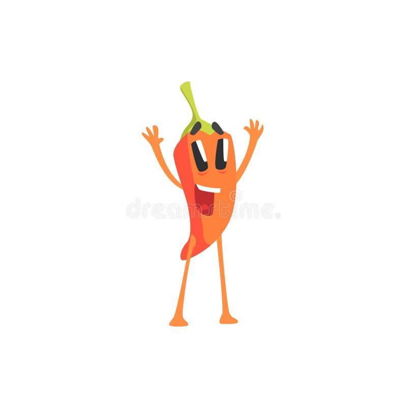 Gelukkig Roodgloeiend Chili Pepper Humanized Emotional Flat-en Beeldverhaalkarakter die toejuichen begroeten stock illustratie
