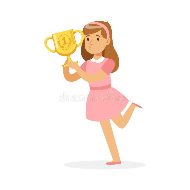 Gelukkig schoolmeisje die in roze de winnaarkop van de kledingsholding, jong geitje haar vectorillustratie van het overwinningsbe stock illustratie