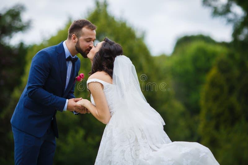 Gelukkig, sensueel jonggehuwdepaar die en handen glimlachen houden en kis stock afbeelding