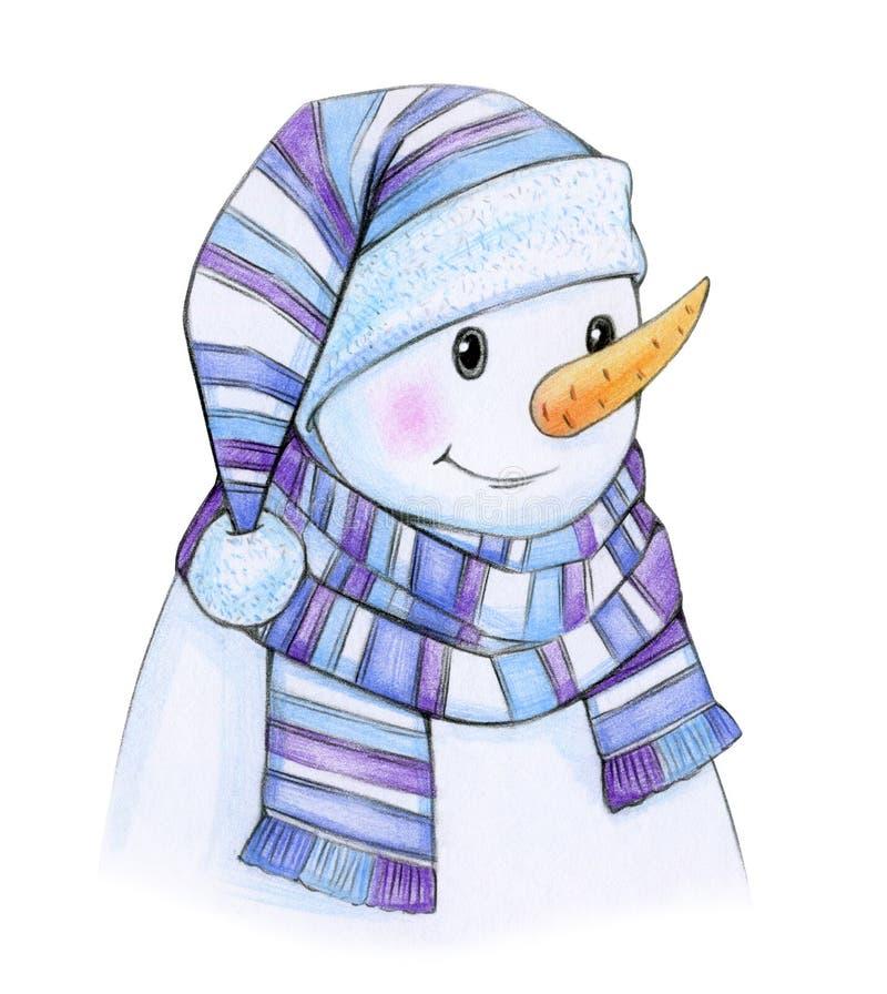 Gelukkig sneeuwmanbeeldverhaal royalty-vrije illustratie