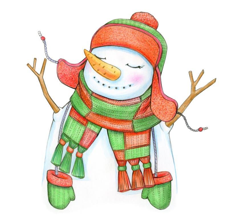 Gelukkig sneeuwmanbeeldverhaal stock illustratie