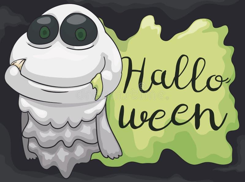 Gelukkig Spook met Fang Celebrating Slijmerig Halloween, Vectorillustratie stock illustratie