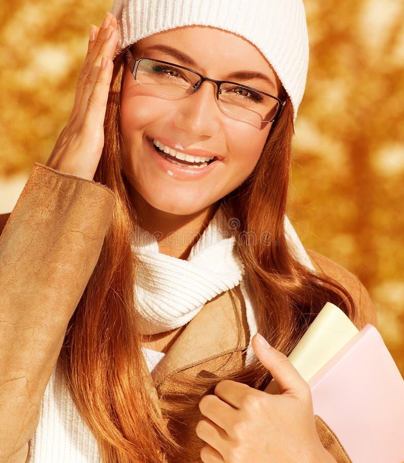 Gelukkig studentenmeisje royalty-vrije stock foto