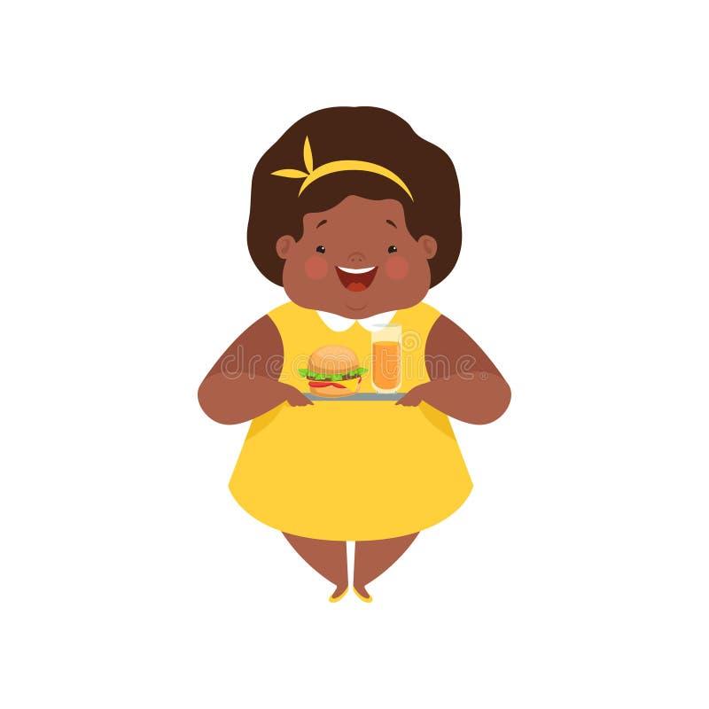 Gelukkig te zwaar Afrikaans Amerikaans meisje met troep snel voedsel, leuke mollige het karakter vectorillustratie van het kindbe royalty-vrije illustratie