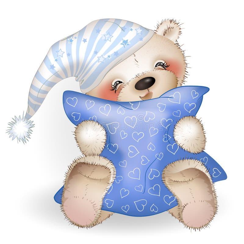 Gelukkig Teddy Bear die een hoofdkussen 4 koesteren stock afbeeldingen