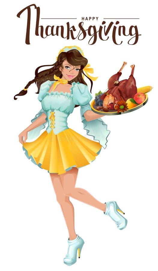 Gelukkig Thanksgiving day De leuke meisjeskelner brengt een dienblad van braadstuk Turkije, groenten en fruit stock illustratie