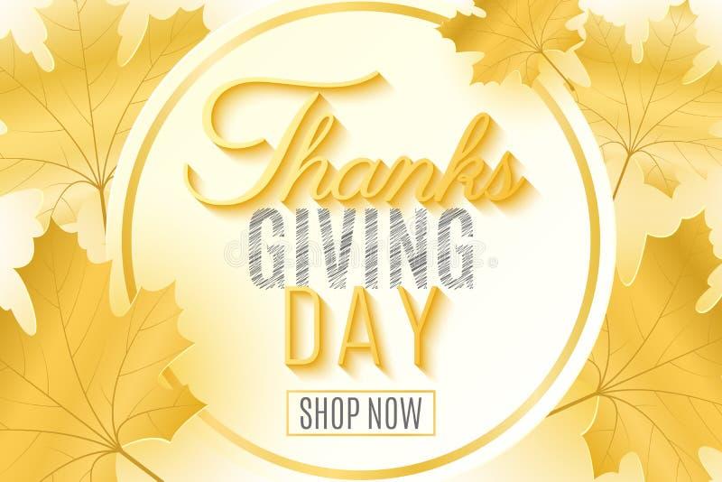 Gelukkig Thanksgiving day Feestelijke dekking voor uw ontwerp De kaart van de groet Bladeren van esdoorn Kalligrafie en het van l royalty-vrije illustratie