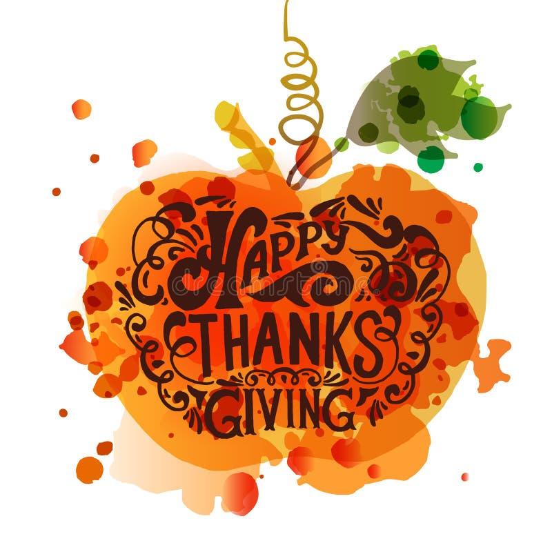 Gelukkig Thanksgiving day logotype, kenteken en pictogram royalty-vrije illustratie