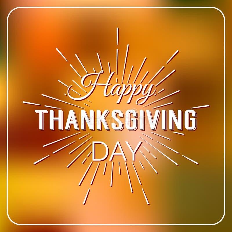 Gelukkig Thanksgiving day logotype, kenteken en pictogram op kleurrijke rug vector illustratie