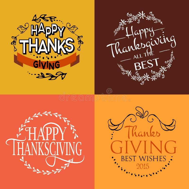 Gelukkig Thanksgiving day logotype, kenteken en pictogramreeks stock illustratie