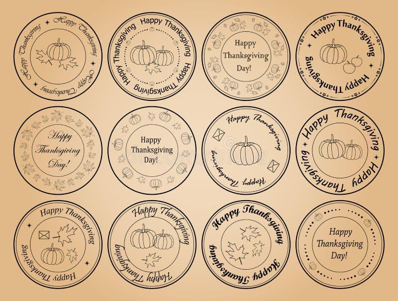 Gelukkig thanksgiving day - ronde vectorpostzegels met bladeren vector illustratie