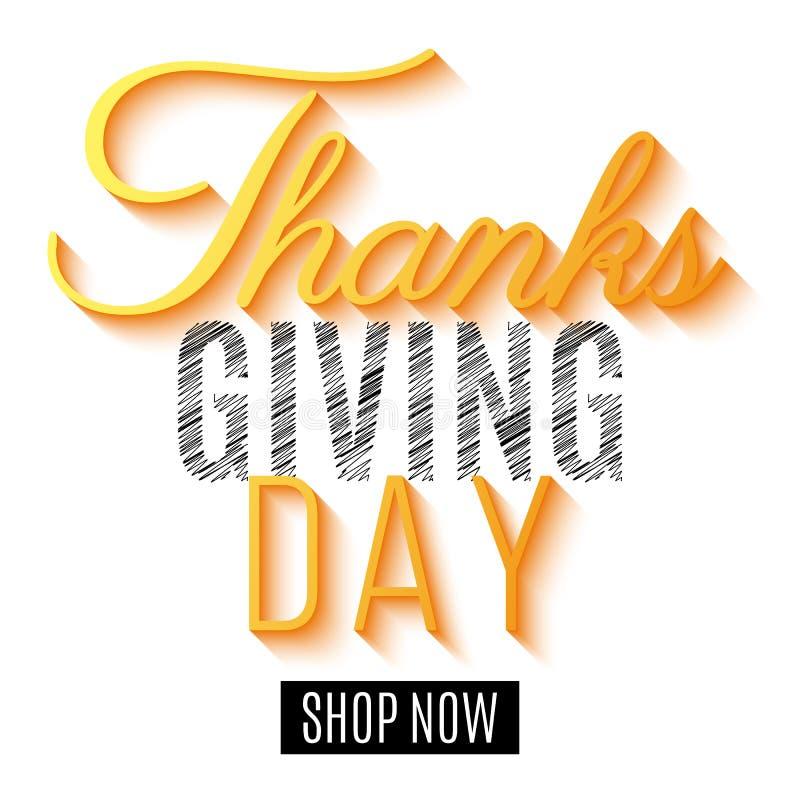 Gelukkig Thanksgiving day Vlieger voor verkoop De kaart van de groetuitnodiging Kalligrafie en het van letters voorzien De banner vector illustratie