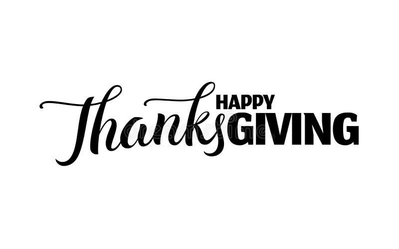Gelukkig thanksgiving dayhand getrokken van letters voorziend etiket royalty-vrije illustratie