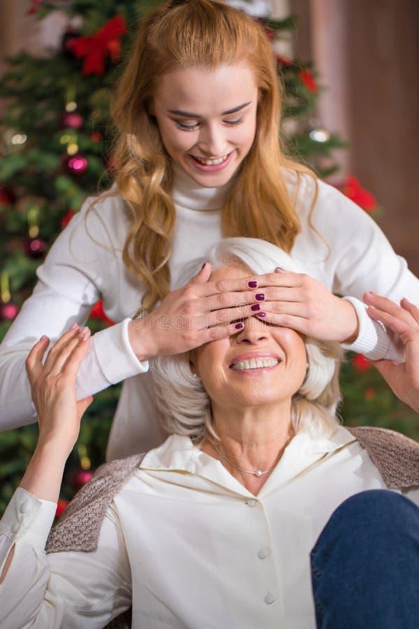Gelukkig tienermeisje met haar grootmoeder stock afbeelding