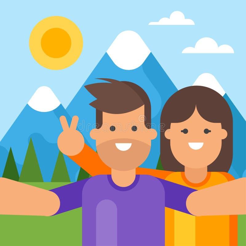 Gelukkig toeristenpaar die selfie achter de bergen nemen royalty-vrije illustratie
