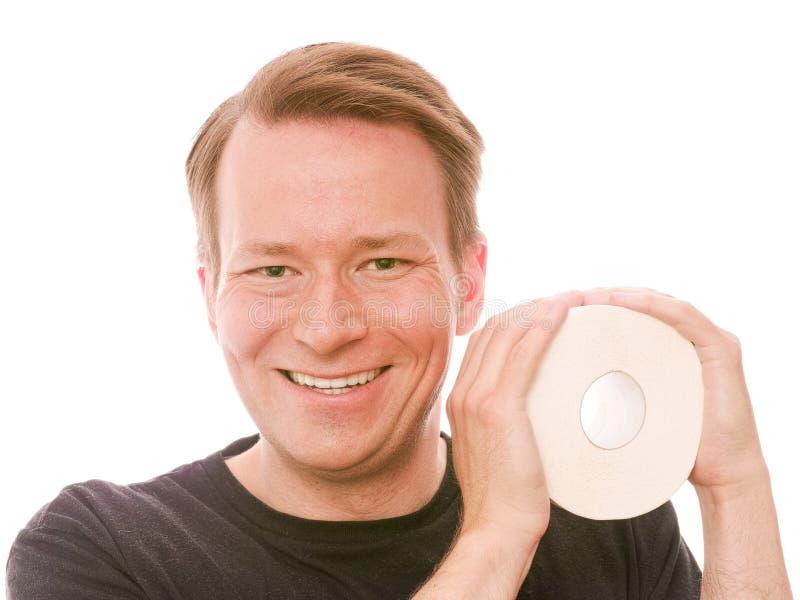 Gelukkig toiletpapier stock fotografie