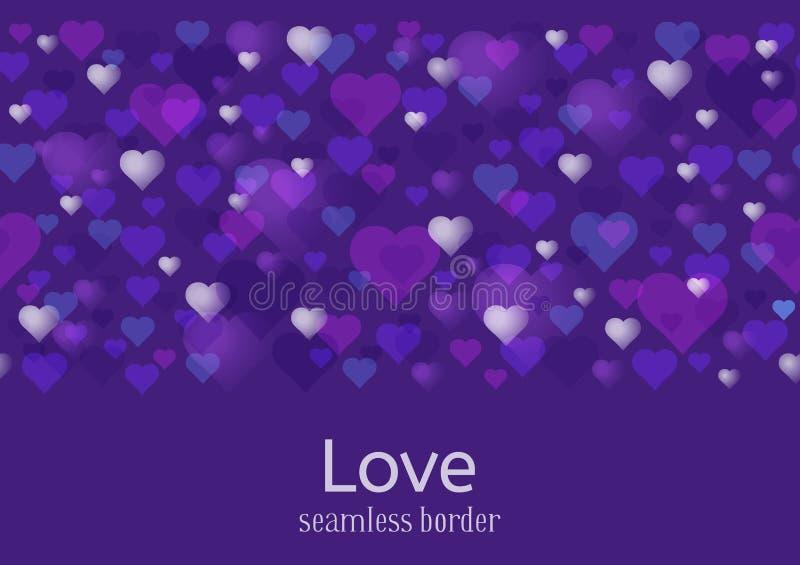 Gelukkig Valentijnskaartendag of huwelijksthema Naadloze horizontale patroon of grens Heel wat harten op ultraviolette achtergron vector illustratie