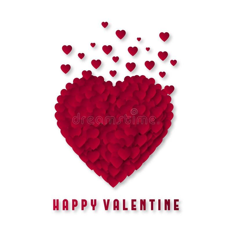 Gelukkig Valentine met hart en witte achtergrond stock illustratie