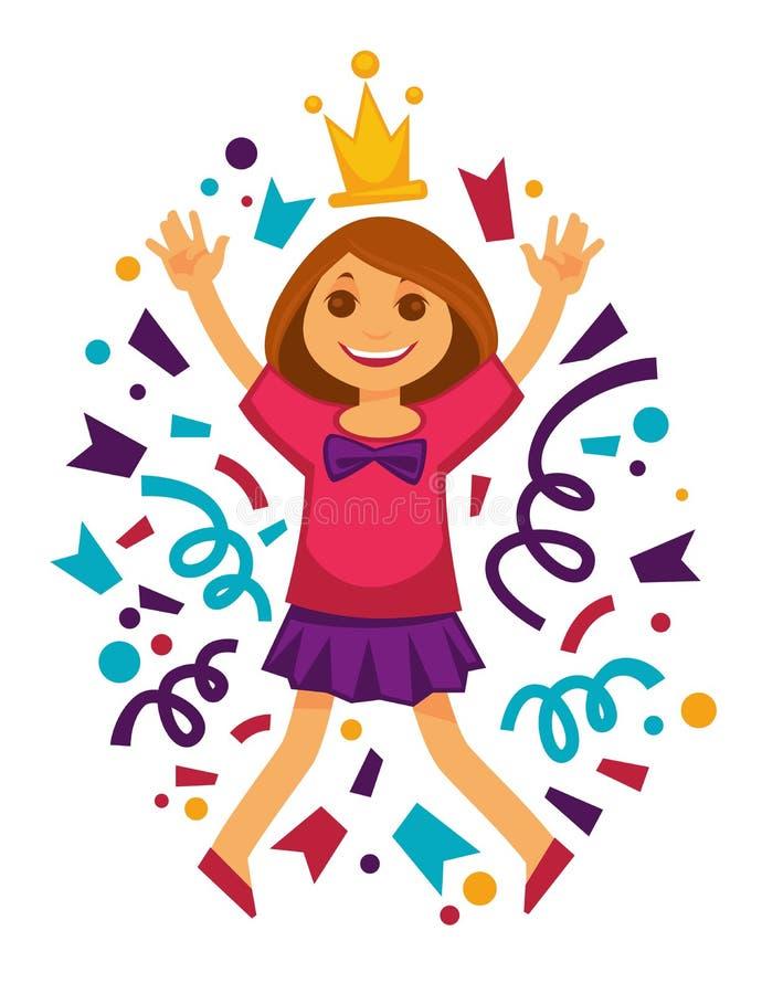 Gelukkig van de de confettienpartij van de feestvarkenprinses vector het ontwerpmalplaatje voor groetkaart stock illustratie