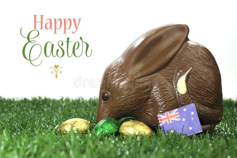 Gelukkig van de de stijlchocolade van Pasen Australisch het paaseikonijntje Bilby met steekproeftekst royalty-vrije stock afbeeldingen