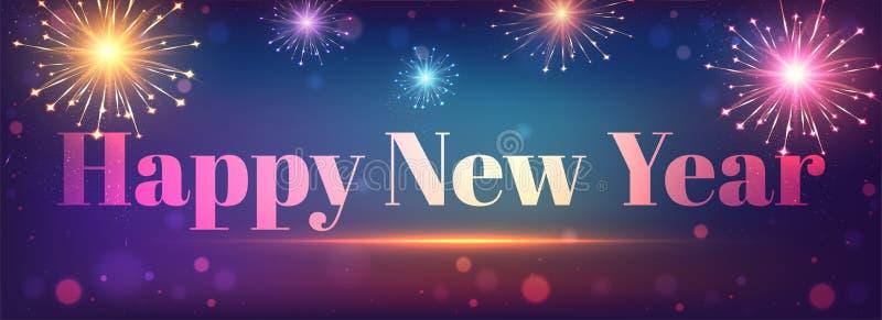 Gelukkig van de Nieuwjaarkopbal of banner ontwerp met barstend vuurwerk o vector illustratie