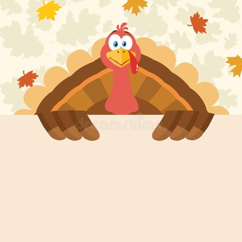 Gelukkig van het de Vogelbeeldverhaal van Dankzeggingsturkije de Mascottekarakter die een Leeg Teken houden stock illustratie