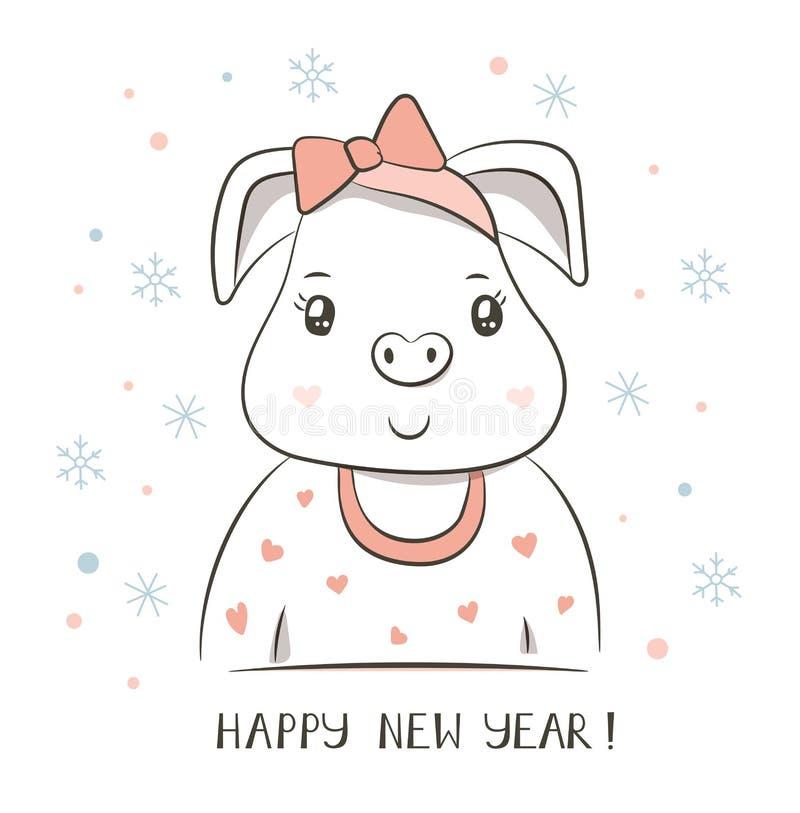 Gelukkig varken Chinees nieuw jaar 2019 De kaart van de groet Beeldverhaaldierenriem stock illustratie