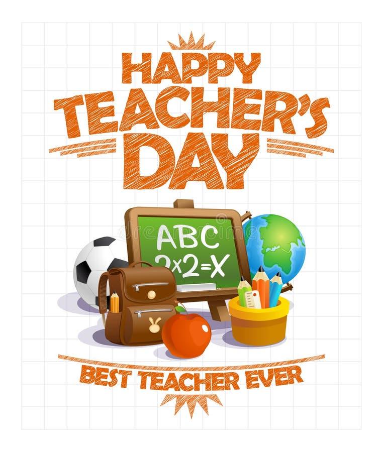 Gelukkig vector de afficheontwerp van de leraars` s dag, beste leraar ooit royalty-vrije illustratie