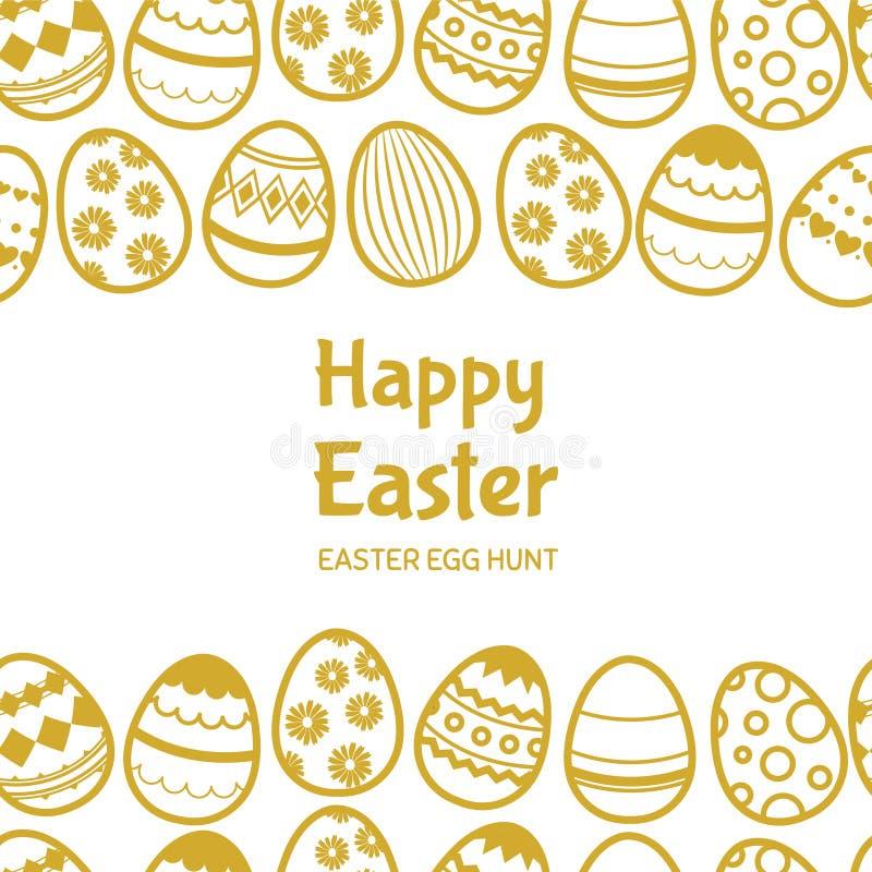 Gelukkig vector de bannermalplaatje van Pasen egghunt met tekst vector illustratie