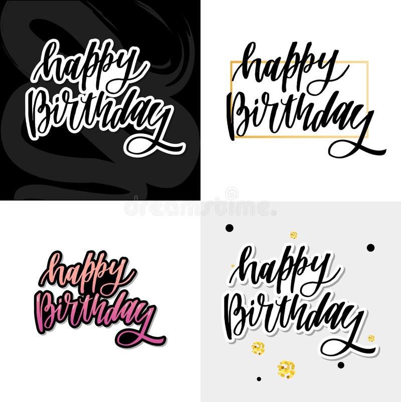 Gelukkig verjaardag hand getrokken vector het van letters voorzien ontwerp op achtergrond van patroon met strepen Perfectioneer v stock illustratie