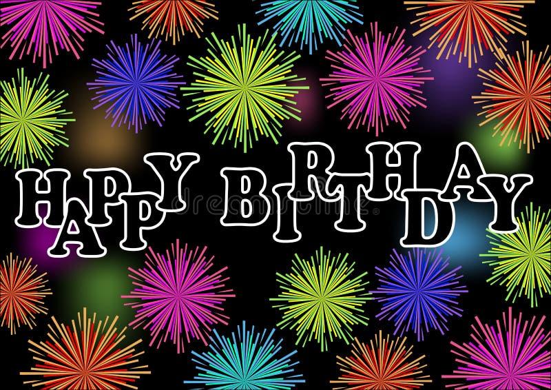 Gelukkig verjaardagsaanplakbord met kleurrijk trillend vuurwerk, de decoratie van de verjaardagspartij stock illustratie