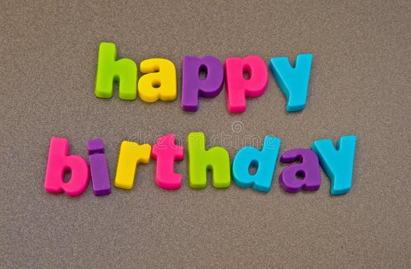 Gelukkig verjaardagsbericht. stock afbeeldingen