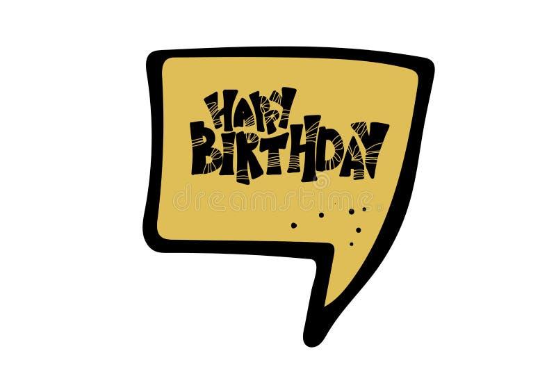 Gelukkig verjaardagshand getrokken citaat Vector illustratie royalty-vrije illustratie