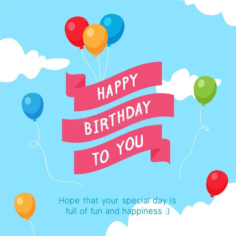 Gelukkig Verjaardagslint bij de Hemel met Kleurrijke Ballon stock illustratie